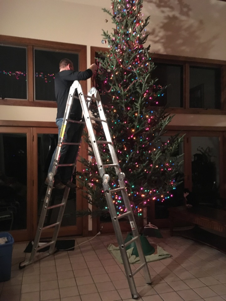 tracy decorating first tree